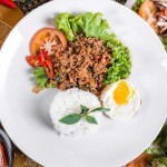 Basil Chicken Rice with egg Rattana Thai