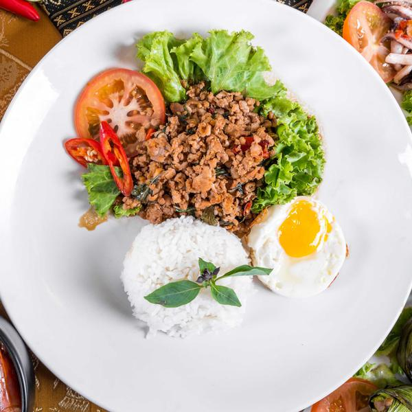 Basil Chicken Rice with egg Rattana Thai