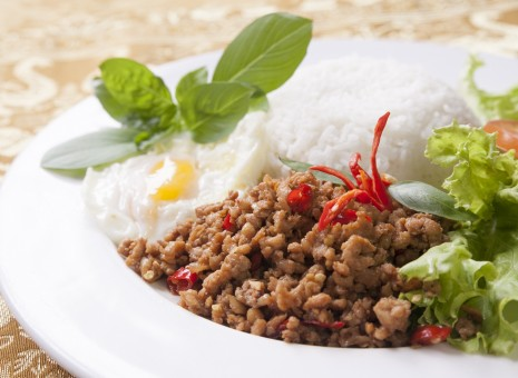 basil chicken rice with egg